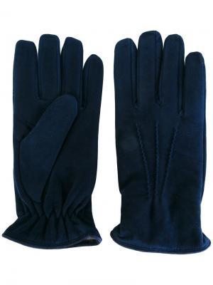 Перчатки с кашемировой подкладкой Lardini. Цвет: синий