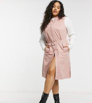 Розовый макинтош без рукавов из ткани под замшу -Розовый цвет Simply Be