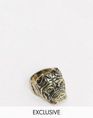 Золотистое кольцо с бульдогом inspired эксклюзивно для ASOS-Золотой Reclaimed Vintage