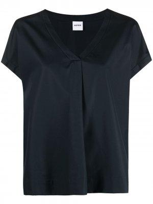 Блузка с V-образным вырезом и короткими рукавами Aspesi. Цвет: синий