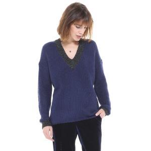 Пуловер с V-образным вырезом из плотного трикотажа CHARLISE. Цвет: розовая пудра,темно-синий