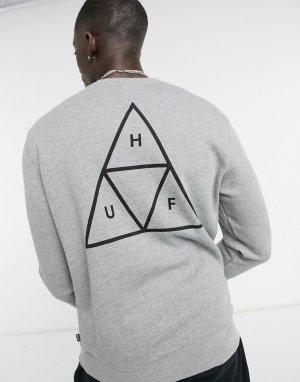 Серый свитшот с треугольным принтом Essentials HUF