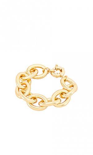 Широкий браслет lou gorjana. Цвет: металлический золотой