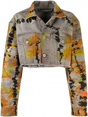 Укороченная джинсовая куртка Heron Preston. Цвет: серый