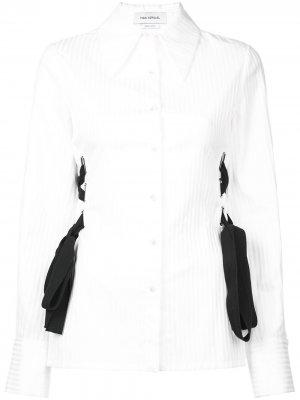 Блузка на пуговицах со шнуровкой Yigal Azrouel. Цвет: белый