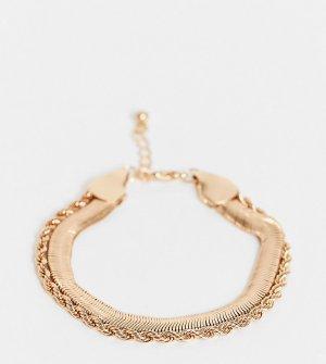 Многорядный золотистый браслет с плоской цепочкой в винтажном стиле ASOS DESIGN Curve