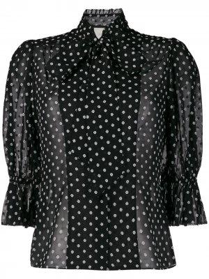 Блузка в горох с короткими объемными рукавами Alexis. Цвет: черный