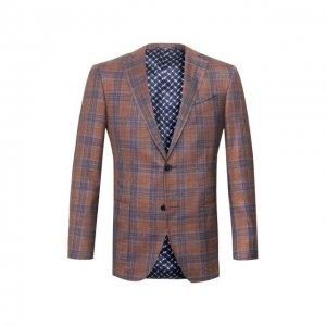 Пиджак из смеси шерсти и шелка Zilli. Цвет: коричневый