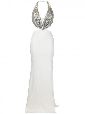 Длинное платье с вырезом халтер Azzaro. Цвет: белый