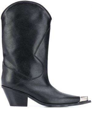Ковбойские сапоги с металлическим носком MISBHV. Цвет: черный