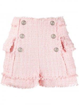 Твидовые шорты с завышенной талией Balmain. Цвет: розовый