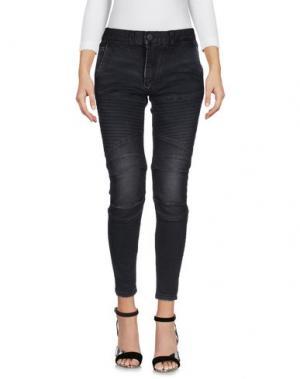 Джинсовые брюки-капри PAURA. Цвет: черный