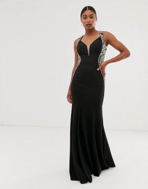 Платье макси с V-образным вырезом и отделкой сбоку -Черный Jovani