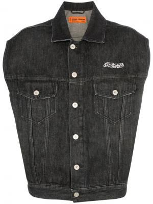 Джинсовая куртка без рукавов с принтом CTNMB Heron Preston. Цвет: черный