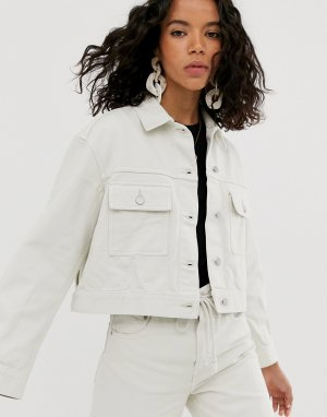 Комбинируемая укороченная джинсовая куртка светло-бежевого цвета -Бежевый Weekday