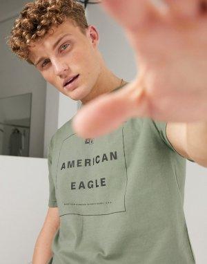 Оливковая футболка с логотипом -Зеленый цвет American Eagle