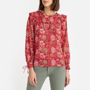 Блузка с круглым вырезом разрезом спереди и цветочным рисунком JODY BLOUSE ANTIK BATIK. Цвет: красный