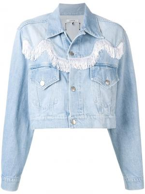 Укороченная джинсовая куртка Ganni. Цвет: синий