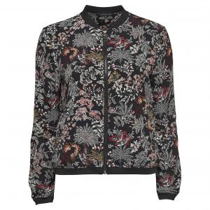 Куртка-бомбер из крепа Nova Luxe ONLY. Цвет: черный/рисунок цветочный