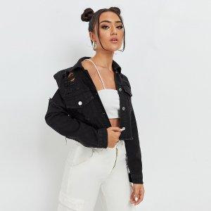 Рваная джинсовая куртка SHEIN. Цвет: чёрный