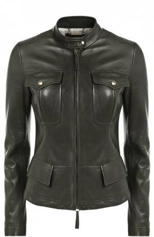 Кожаная куртка с накладными карманами и декоративной шнуровкой Roberto Cavalli. Цвет: оливковый