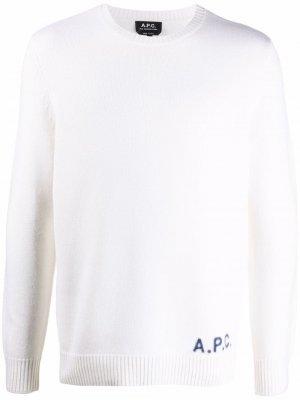 Джемпер с вышитым логотипом A.P.C.. Цвет: белый