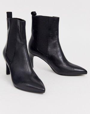 Черные кожаные полусапожки на каблуке -Черный Vagabond