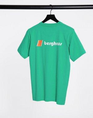 Зеленая футболка с логотипом на груди и спине -Зеленый Berghaus