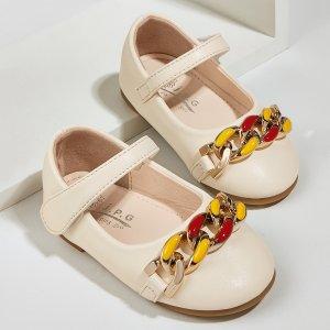 Для девочек Туфли мэри джейн с цепочкой SHEIN. Цвет: aбрикосовый
