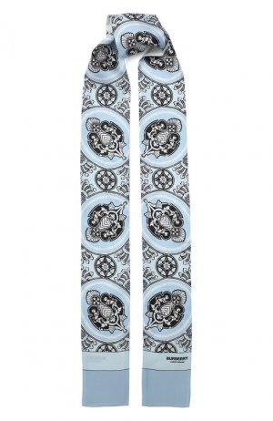 Шелковый шарф-бандо Burberry. Цвет: голубой