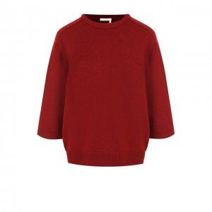 Кашемировый пуловер с укороченным рукавом и накладным карманом Chloé. Цвет: красный