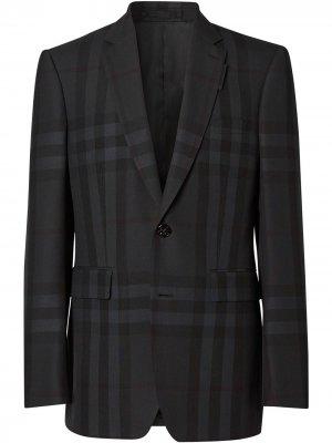Однобортный пиджак в клетку Burberry. Цвет: черный