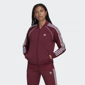Олимпийка Primeblue SST Originals adidas. Цвет: бордовый