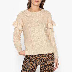 Пуловер с круглым вырезом из трикотажа CORK SESSUN. Цвет: экрю