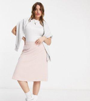 Льняная юбка А-силуэта розового цвета Plus-Розовый цвет Elvi