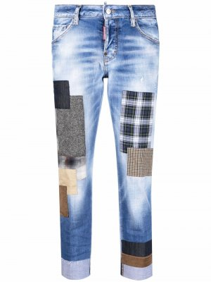 Укороченные джинсы в технике пэчворк Dsquared2. Цвет: синий