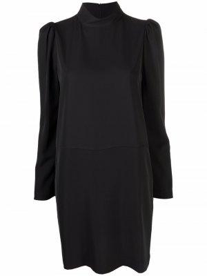 Платье-трапеция с длинными рукавами и высоким воротником 8pm. Цвет: черный