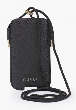 Чехол для телефона Guess Pouch PU Saffiano 4G Black (M size, IP12). Цвет: черный