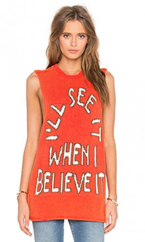 Майка-борцовка believe it Wildfox Couture. Цвет: оранжевый