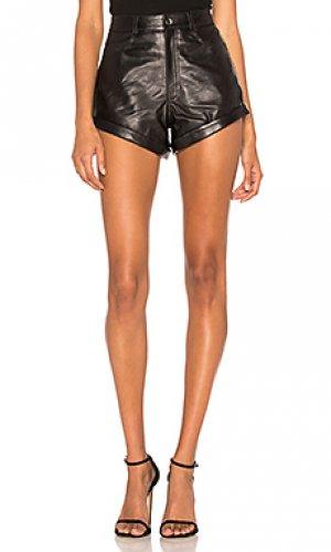 Кожаные шорты relaxed cuff short LPA. Цвет: черный