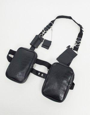 Черная сбруя-бандаж на грудь из черной искусственной кожи с отстегивающимися кошельками -Черный ASOS DESIGN