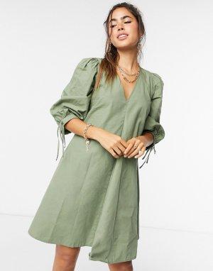 Зеленое свободное платье мини Nanita-Зеленый цвет Just Female