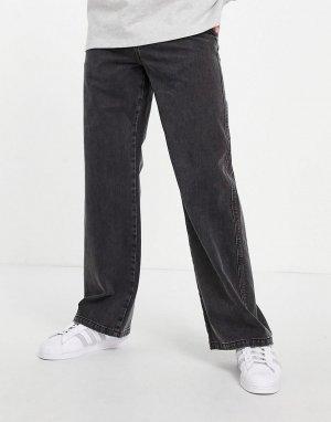 Свободные джинсы выбеленного черного цвета с широким низом штанин -Черный цвет ASOS DESIGN