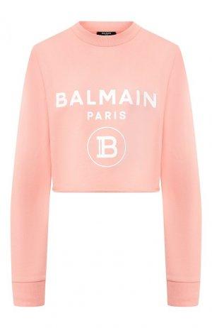 Хлопковый пуловер Balmain. Цвет: розовый
