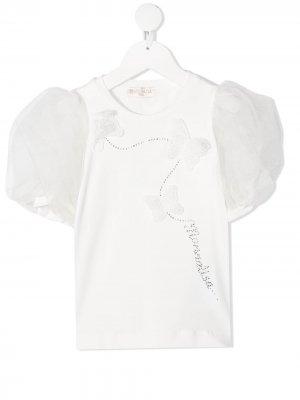 Tulle puff-sleeve T-shirt Monnalisa. Цвет: белый