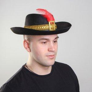 Карнавальная шляпа с пером, цвет чёрный, р-р. 57-58 Страна Карнавалия