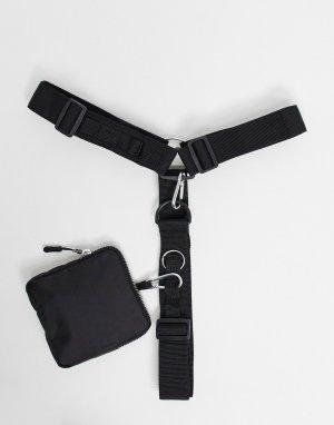 Сбруя-бандаж с D-образным кольцом и съемным кошельком -Черный цвет ASOS DESIGN