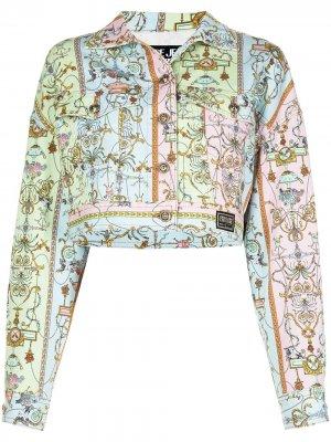 Джинсовая куртка с узором Baroque Versace Jeans Couture. Цвет: синий