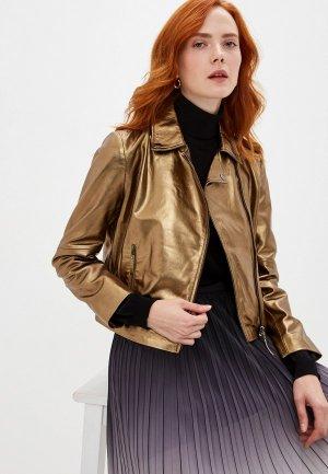 Куртка кожаная Seventy. Цвет: золотой