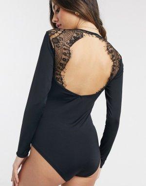 Боди с кружевными вставками на плечах -Черный Lingadore